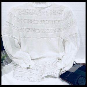 Boston Proper Tops - Boston Proper💥NWOT Crochet blouson peasant tunic